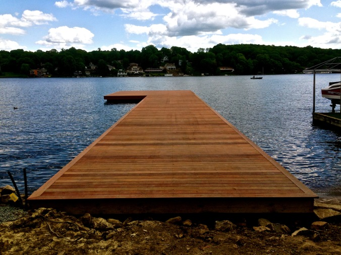 105' Brazilian Cherry dock. Pile-driving by Scott Wood Marine Construction. Hopatcong, NJ.
