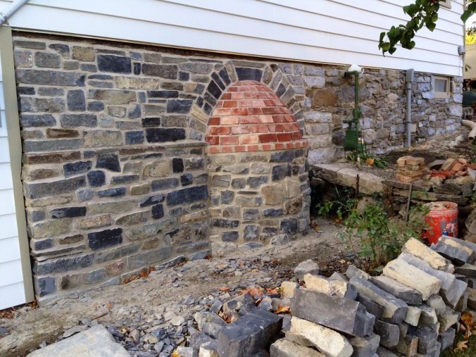 Completed Oven exterior, new foundation wall and repointed foundation wall. Sussex, NJ.