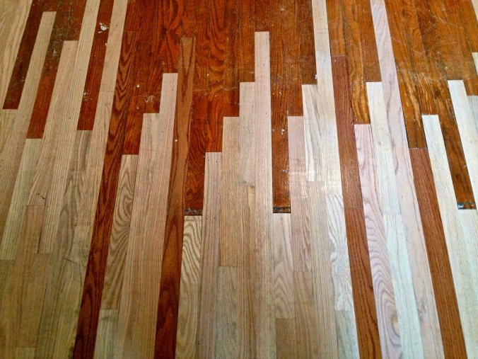 "Replaced, ""woven,"" red oak hardwood floor prior to refinishing. Succasunna, NJ."