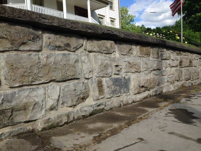 Repointed 18/19th century wall. Original limestone repointing with Natural Hydraulic Lime and new drainage added. Sussex, NJ.