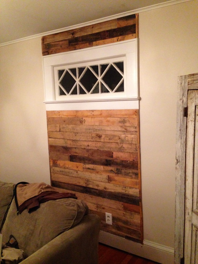 Pallet wood wall panel. Newton, NJ.