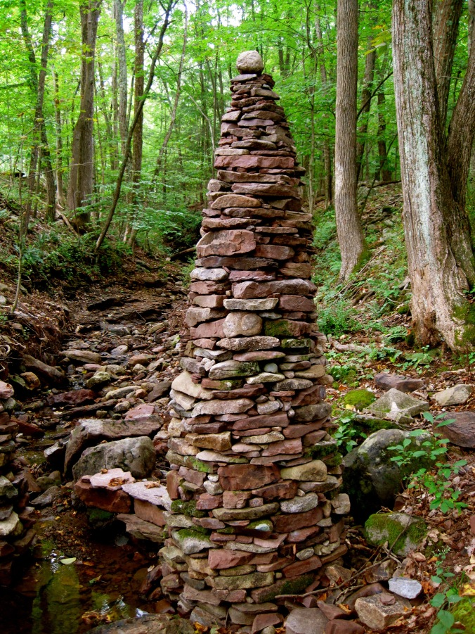 Dry stacked cairn. Montague, NJ.